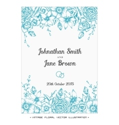 Vintage floral wedding invitation vector