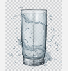 Water splashes around a transparent glass vector