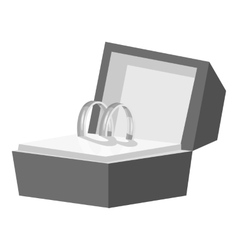 Wedding rings in a box icon gray monochrome style vector