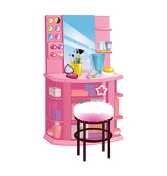 woman dressing table with mirror chair and vector image