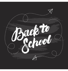 Back to school hand written lettering on black vector