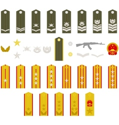 Epaulets chinese army vector