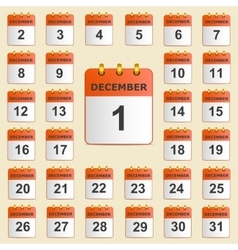 Set of icons for the calendar in december vector