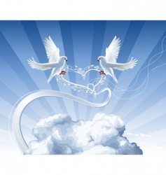 White doves with heart vector