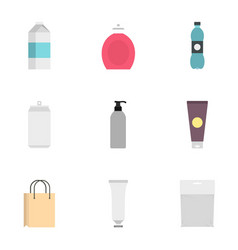 food drink cosmetic package icons set flat style vector image
