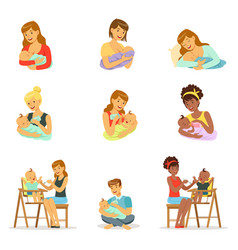 Mom and dad feeding their babies set for label vector