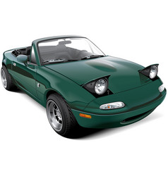 Green two-seater roadster with open headlights vector