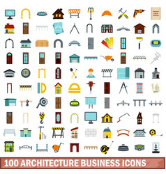 100 architecture business icons set flat style vector