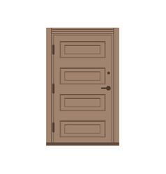 Classic wooden entrance door closed brown elegant vector