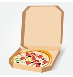 Appetizing pizza in a cardboard box vector