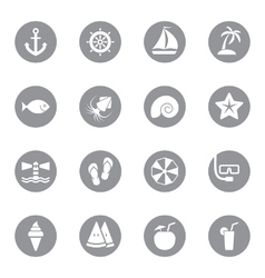 Gray flat icon set 9 on circle vector