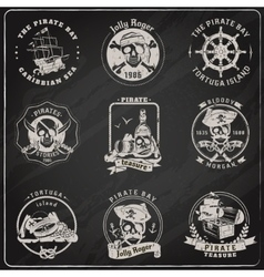 Pirate emblems blackboard chalk set vector