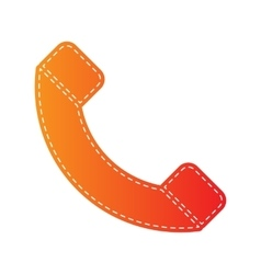 Phone sign  orange applique isolated vector