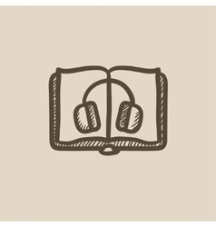 Audiobook sketch icon vector