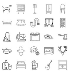 Bedroom icons set outline style vector