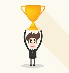Businessman holding winning trophy long shadow vector image vector image