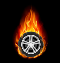 Car wheel on fire on black vector