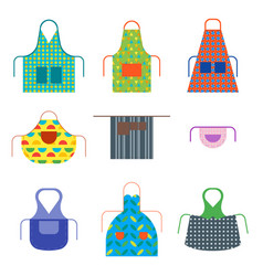 cartoon cooking aprons color icon set vector image vector image