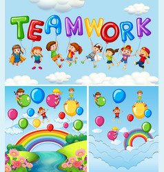 Children and balloons for word teamwork vector