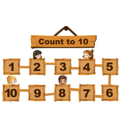 Children and numbers one to ten on wooden boards vector