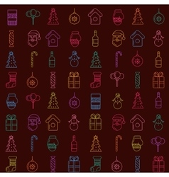 Christmas line icons pattern vector image vector image