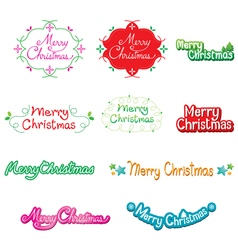 Christmas text lettering design set vector