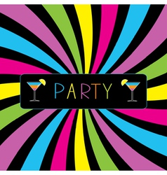 Colorful cocktail party card vector