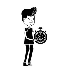 Contour delivery man with pocket clock in the vector