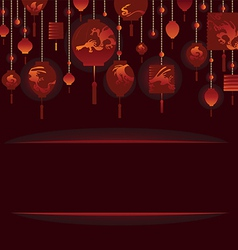 Decorative Background with Red Lamp vector image vector image