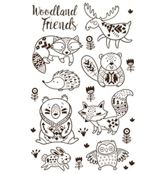 Decorative ornamental woodland animals set vector image