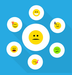 Flat icon expression set of frown grin asleep vector