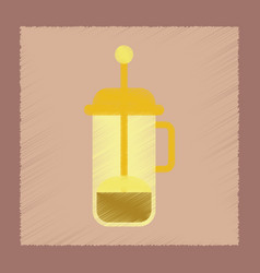 Flat shading style icon coffee maker vector
