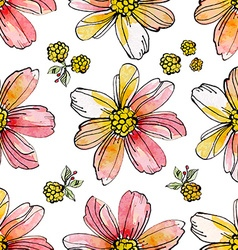 floral seamless texture of watercolor vector image vector image