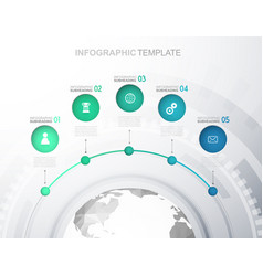 Infographic template with five circles icons line vector