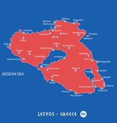 island of lesvos in greece red map vector image vector image