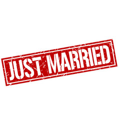Just married square grunge stamp vector