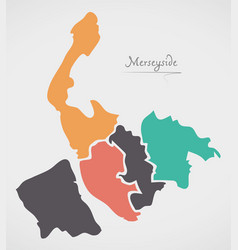 Merseyside england map with states and modern vector