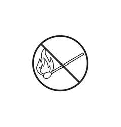 No fire line icon no open flame prohibited sign vector