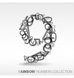 number nine design element vector image