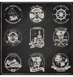 Pirate emblems blackboard chalk set vector