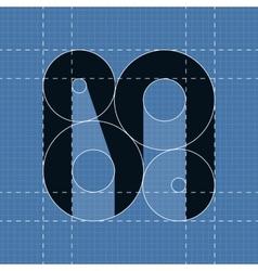 Round engineering font symbol m vector