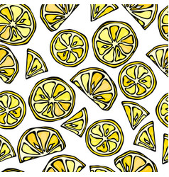 Seamless lemon slices background pattern of vector