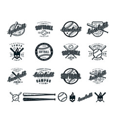 Set of baseball and softball badges vector