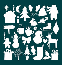 Set of christmas silhouettes vector