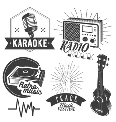 Set of karaoke and music labels in vintage vector