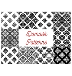 Stylized floral damask seamless patterns vector image vector image