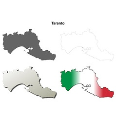 Taranto blank detailed outline map set vector