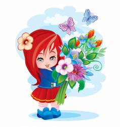 the girl with a bouquet vector image