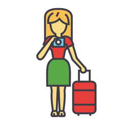 Traveler woman making a photo vacation trip vector