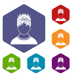 word stress in the head of man icons set vector image